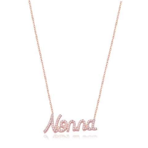 Collana girocollo argento 925 oro rosa scritta Nonna brillanti