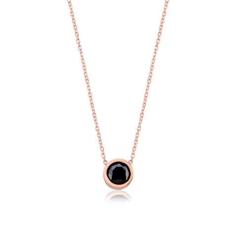 Collana girocollo argento 925 oro rosa Spinello Nero