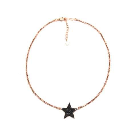 Collana girocollo argento 925 oro rosa Stella maxi Zirconi neri