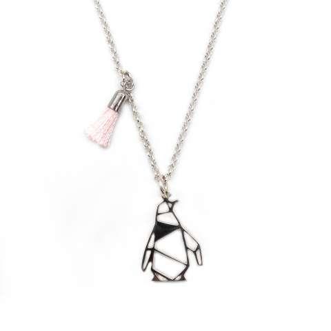 Collana girocollo argento 925 pinguino e nappina