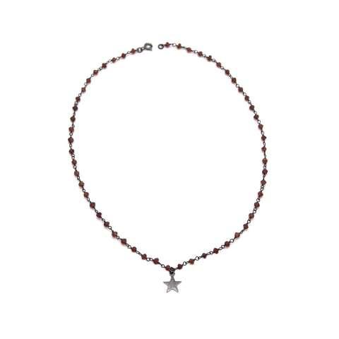 Collana girocollo argento 925 rodiato catena rosario Granati e Stella
