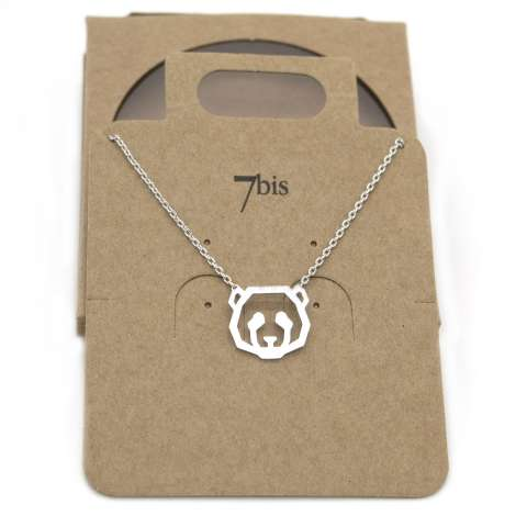 Collana girocollo argento pendente testa di panda