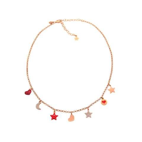 Collana girocollo choker argento 925 oro rosa 7 charms