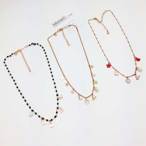 Collana girocollo choker argento 925 oro rosa LOVE + stelline
