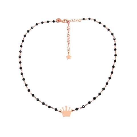 Collana girocollo choker rosario argento 925 oro rosa Spinelli neri e corona
