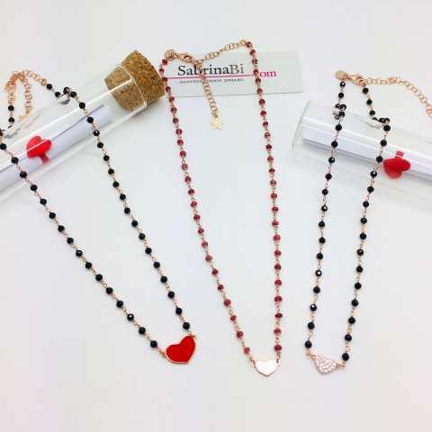 Collana girocollo choker rosario argento 925 oro rosa Spinelli neri e cuore Zirconi