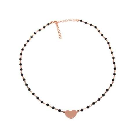 Collana girocollo choker rosario argento 925 oro rosa Spinelli neri e cuore