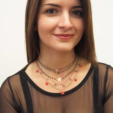Collana girocollo choker rosario argento 925 oro rosa Spinelli neri e stella Zirconi neri