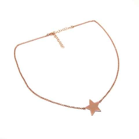 Collana girocollo/ choker/ strozzacollo argento 925 oro rosa Stella grande in catena