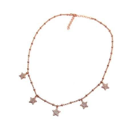 Collana girocollo/ choker/ strozzacollo argento 925 rosario oro rosa 5 Stelle Zirconi