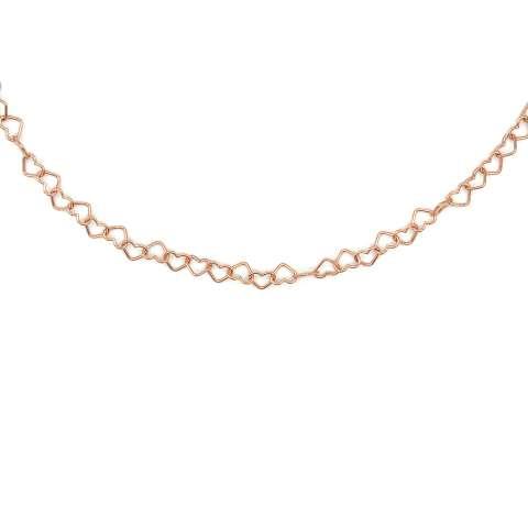 Collana girocollo con maglia a cuore piccolo argento 925 oro rosa