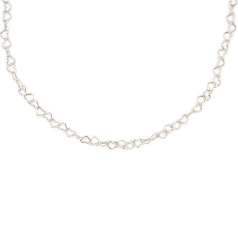 Collana girocollo con maglia a cuore piccolo argento 925
