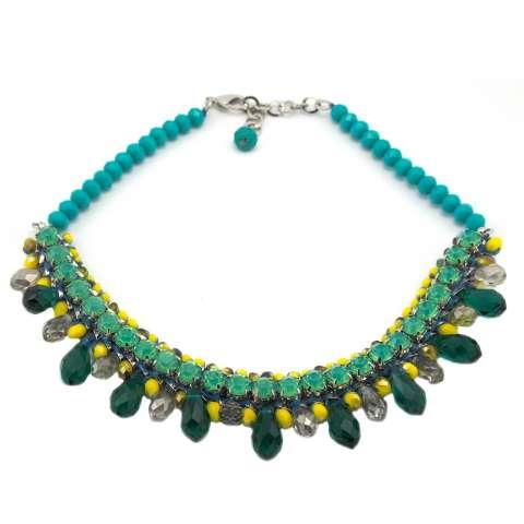 Collana girocollo cristalli verdi e pietre a goccia