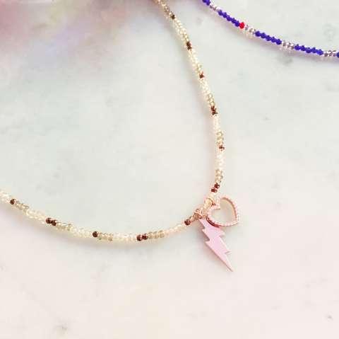 Collana girocollo micro perline bronzo Cuore e lampo