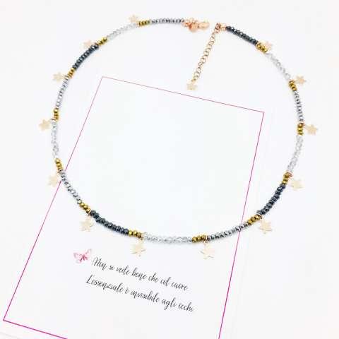 Collana girocollo micro perline nere e bronzo con stelline