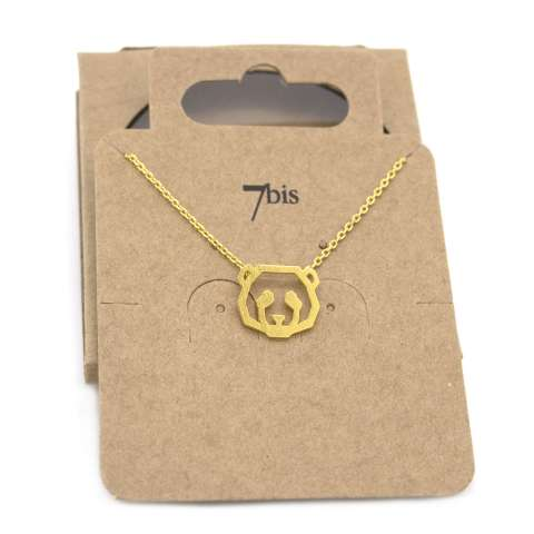 Collana girocollo oro pendente testa di panda