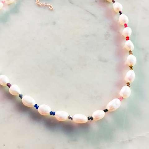 Collana girocollo perle barocche Rainbow