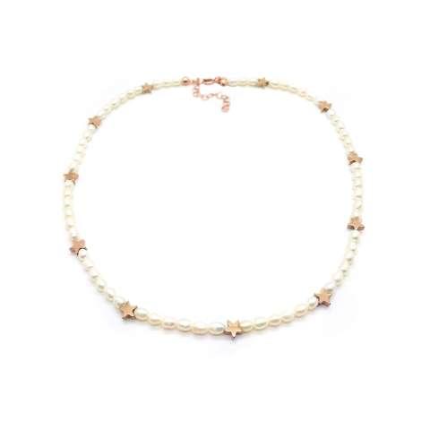 Collana girocollo perle di fiume e stelle Pirite