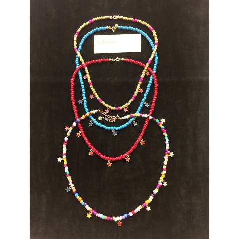 Collana girocollo perle di vetro multicolor e stelline