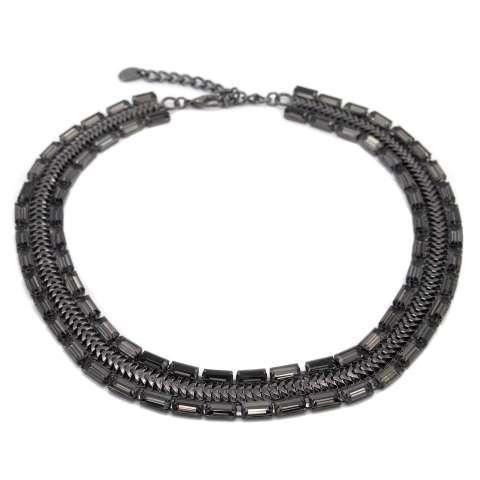Collana girocollo rodiata nera doppia fila strass grigi