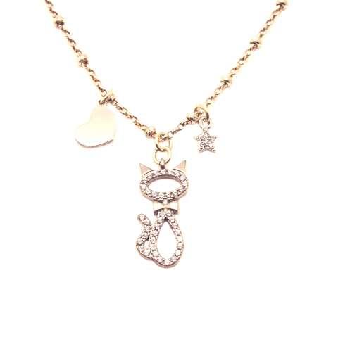 Collana girocollo rosario argento 925 gatto Zirconi, stellina e cuore