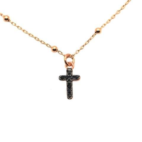 Collana girocollo rosario argento 925 oro rosa croce Zirconi neri