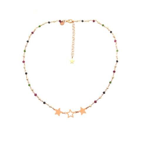 Collana girocollo rosario argento 925 oro rosa perle, pietre dure multicolor e 3 Stelle