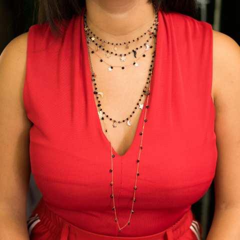 Collana girocollo rosario argento 925 oro rosa Spinelli neri e 7 charms