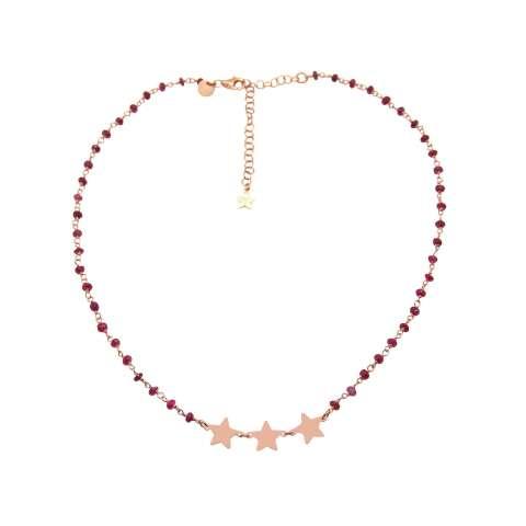 Collana girocollo rosario rosso rubino argento 925 oro rosa e 3 stelle