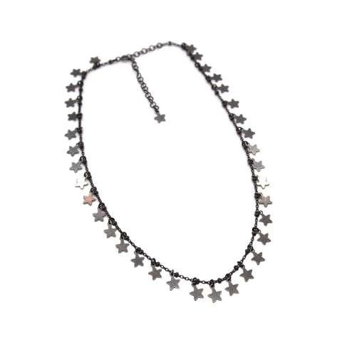 Collana girocollo/ strozzacollo/ choker rosario argento 925 rodiato nero mini stelle