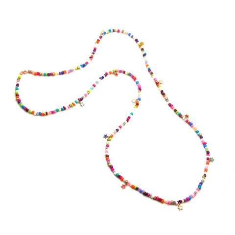 Collana lunga 1 mt. perle di vetro multicolor e stelline