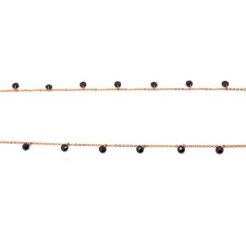 Collana lunga argento 925 oro rosa cascata Zirconi neri