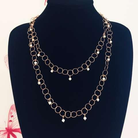 Collana lunga argento 925 oro rosa catena maglia larga anelli con Perle