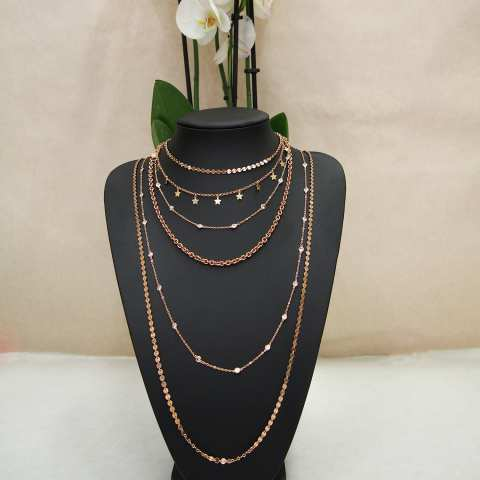 Rose gold sterling silver long necklace w/ Coins chain
