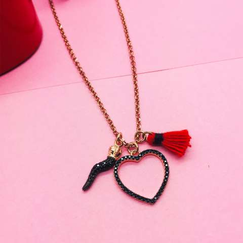 Collana lunga argento 925 oro rosa Love and Luck
