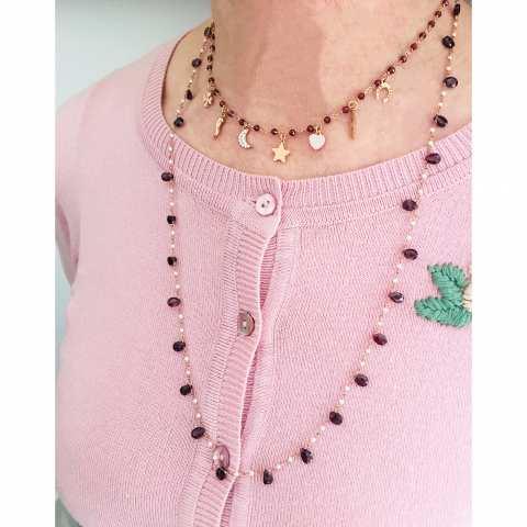 Collana lunga argento 925 oro rosa rosario perle e Ametista