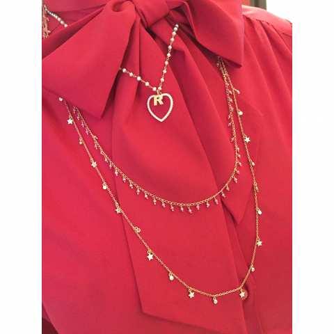 Collana lunga argento 925 oro rosa Stelle charms Zirconi
