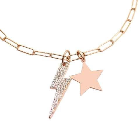 Collana lunga catenella graffetta piccola argento 925 oro rosa stella e fulmine Zirconi