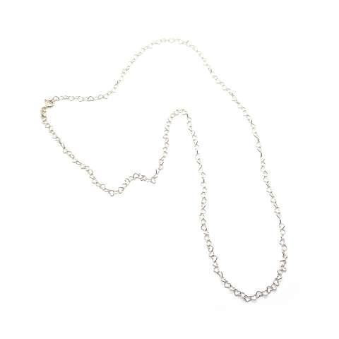 Collana lunga con maglia a cuore piccolo argento 925