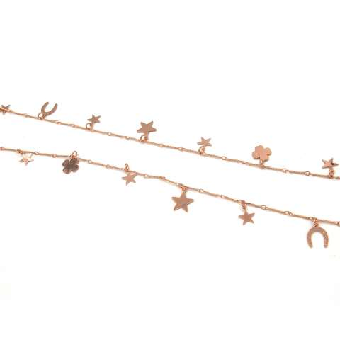 Collana lunga oro rosa Good Luck charms portafortuna