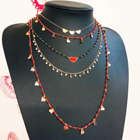 Collana lunga oro rosa rosario rosso ciondoli cuori