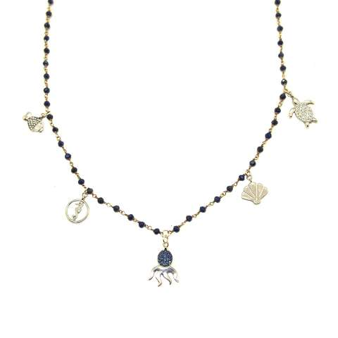Collana lunga rosario argento 925 Lapislazzuli 5 charms