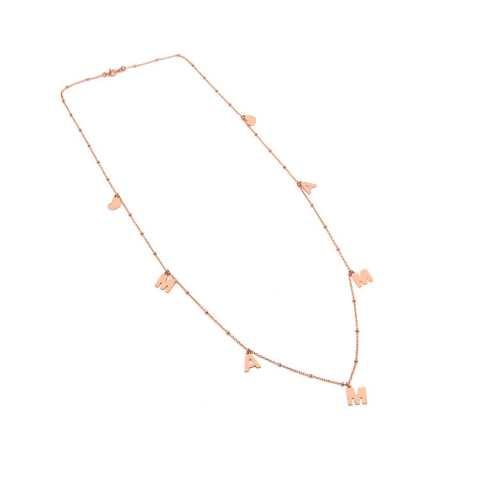Collana lunga rosario argento 925 oro rosa Mamma e cuori
