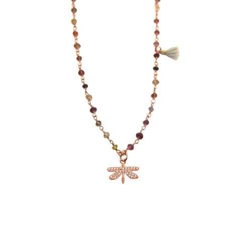 Collana lunga rosario argento 925 oro rosa pietre multicolor Libellula Zirconi