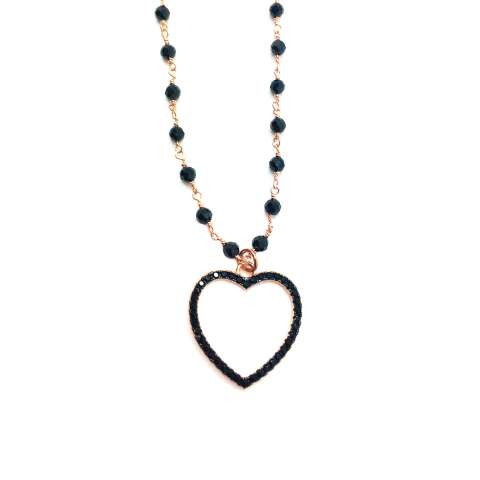 Collana lunga rosario argento 925 oro rosa Spinelli neri cuore Zirconi neri