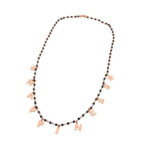 Collana lunga rosario argento 925 oro rosa Spinelli neri Happiness e stelline