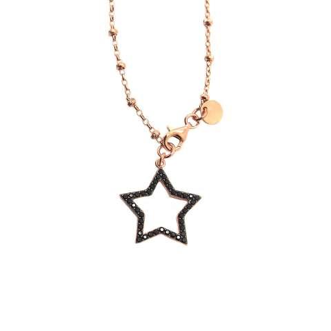 Collana lunga rosario argento 925 oro rosa Stella Zirconi neri