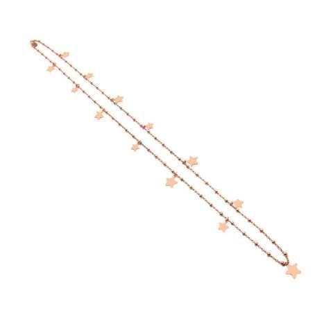 Collana lunga rosario argento 925 oro rosa Stelle piccole e micro