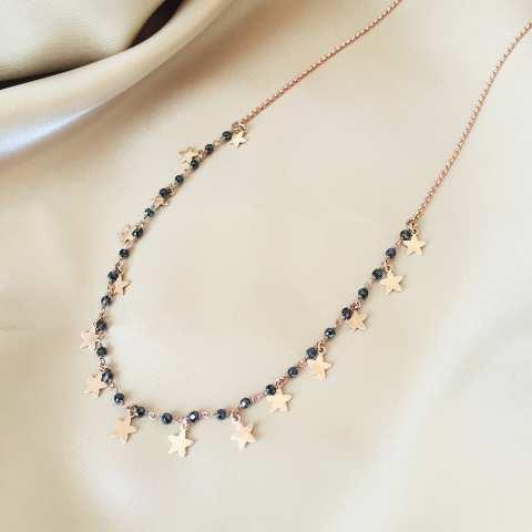Collana media lunghezza doppia catena argento 925 oro rosa Stelle