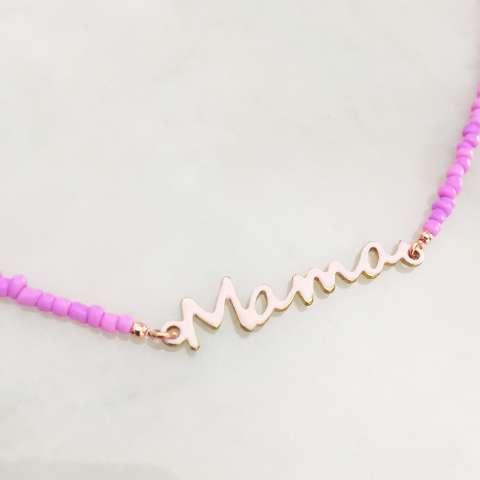 Collana micro perline vetro lilla Mama
